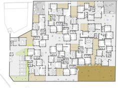 in djibouti, urko sanchez architects was asked by SOS kinderdorf to complete a children's village comprising 15 individual houses. Architecture Awards, Architecture Drawings, Sos Kinderdorf, Urban Village, Social Housing, Cluster, Walled City, Ground Floor Plan, Urban Planning