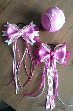 Hey, I found this really awesome Etsy listing at https://www.etsy.com/listing/182564741/breast-cancer-awareness-softball-bow