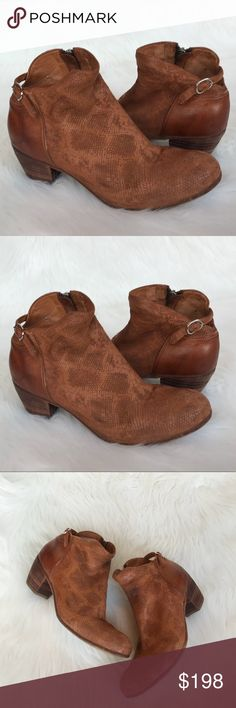 "Officine Creative Chabrol Side Zip Ankle Booties Officine Creative Chabrol Side Zip Ankle Booties in Cognac! Love this soft Distressed textured leather! Has a Distressed look & back ankle strap! Size Euro 38. Heel: 2 1/4"". Previously loved. Some wear & right heel has a spot. Wear on Bottom. Please see photos. Made in Italy. AG3086120217 Officine Creative Shoes Ankle Boots & Booties"