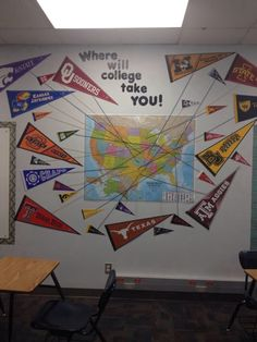 As a school counselor, I would like to have college pennants displayed on the wall. It provides a future-oriented perspective on hope and different college options. Counseling Bulletin Boards, College Bulletin Boards, College Board, College Tips, School Decorations, School Themes, Classroom Themes, School Ideas, School Counseling Office