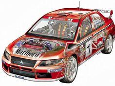 Mitusbishi Evo rally car - cutaway