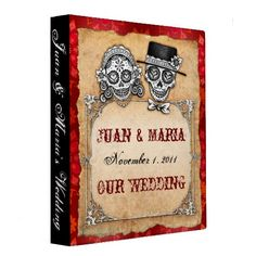 Sugar Skull Couple Wedding Binder  #wedding photo album #wedding planner #wedding binders   Click on photo to purchase. Check out all current coupon offers and save! http://www.zazzle.com/coupons?rf=238785193994622463&tc=pin