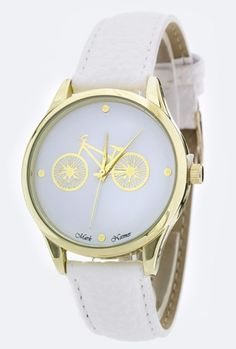 Watches  https://sincerelysweetboutique.com/accessories/watches.html #watch #watches #sincerely-sweet-watches - Watch - Classic Date Retro Bicycle White Watch