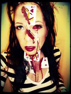 """Vegas"" Makeup. Artist: Jacquie Lantern www.jacquielantern.com magician, cards, queen of hearts, halloween"