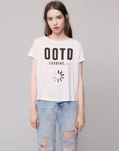 Pull&Bear - woman - t-shirts and tops - slogan t-shirt - white - 05240392-I2015