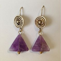 Amethyst and brass dangle earrings  on Etsy, $46.00 Matthewizzo.com