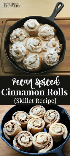 This Pecan Spiced Cinnamon Rolls Recipe is baked in an iron skillet. Stuffed wit… This Pecan Spiced Cinnamon Rolls Recipe is baked in an iron skillet. Stuffed with cinnamon, nutmeg, and pecans and topped with a vanilla glaze. A delicious brunch recipe! Pecan Recipes, Fall Recipes, Cooking Recipes, Bread Recipes, Holiday Recipes, Brunch Recipes, Breakfast Recipes, Dessert Recipes, Breakfast Buffet
