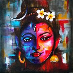 Divine Union is a 12x12 inches (30x30cms) stretched canvas painting. This painting signifies the creation of universe by the union of Shiva consciousness and Shakti energy. The path of enlightenment is the path of bringing together the two parts of this identity until form is no