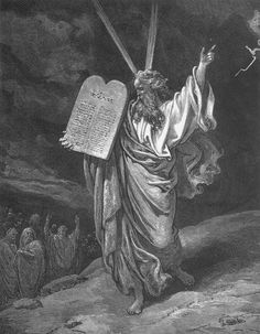 Gustave Doré 1832 – 1883    Moses Showing the Ten Commandments  engraving — 1865