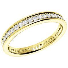 An elegant Round Brilliant Cut diamond set wedding ring in 18ct yellow gold