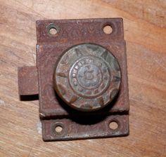 1 cast iron cupbd latch with brass knob fancy by BandCEmporium, $15.00
