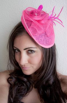 PIPPA Fuchsia Mesh Couture English Hat Fascinator Clip for weddings, parties, derby, special occasions. $54.00, via Etsy.