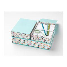 Boîtes de rangement pour enfant Hejsan : bleu turquoise et motifs multicolores, pour ranger les papiers, les photos, les petits objets...