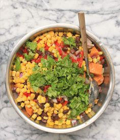 Sweet Potato Salad with Black Beans and Corn | Girl Cooks World