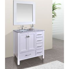 Gallery One  inch Malibu Pure White Single Sink Bathroom Vanity with inch Mirror