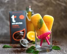 These refreshing ice lollies are really simple to make and a super healthy treat using South African Rooibos tea and orange. They are sugar free, dairy free, gluten free and vegan! Ice Lolly Recipes, Tea Recipes, Baking Recipes, Tasty, Yummy Food, Healthy Treats, Popsicles, Sugar Free, Dairy Free