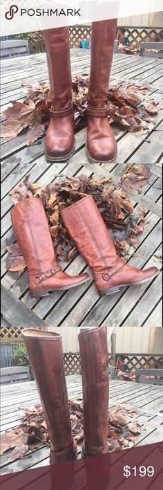 "Frye boots Frye boots, founded in 1863 are made from the finest quality leather!  They are made to enjoy them well and hold up so well over time.  These beauties, I believe are from the Shirley collection. The shaft is 15"" and heels are 1"".  In EUC - no rips, holes or tears...they are soft and broken in for immediate wear!  0511116 Frye Shoes Heeled Boots"