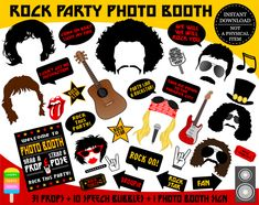 Check out our rock star photo booth props selection for the very best in unique or custom, handmade pieces from our shops. Photos Booth, Photo Booth Props, Party Props, Party Signs, Party Ideas, Theme Ideas, Rock Sign, Rock Star Party, Star Decorations