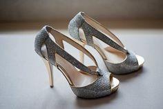 image of Sparkly Silver zapatos de boda zapatos de novia Glitter ♥