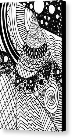 The Zendoodle Desert Canvas Print / Canvas Art by Alicia Counter Cool Doodles, Canvas Art, Canvas Prints, Got Print, Hanging Wire, Outer Space, Canvas Material, Your Image, Zentangle