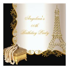 Elegant Eiffel Tower Gold Black Birthday Party Card
