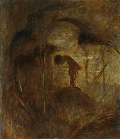 Artwork by László Mednyánszky, Boy crouching in the woods, Made of Oil on laid on board Dark Art, Museum, Gallery, Artist, Artwork, Painting, Woods, Random, Board