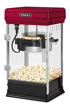 Prepare up to 10 cups of fluffy, hot popcorn with this Classic-Style Popcorn Maker by Cuisinart. The heater requires no advance heat up time and the popcorn maker comes with a scoop, measuring cop and oil measuring spoon. Kettle Popcorn, Popcorn Cart, Popcorn Bowl, Popcorn Maker, Home Popcorn Machine, Popcorn Machines, Cool Office Gadgets, Tech Gadgets, Cinema Popcorn