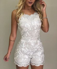 Spaghetti Strap Lace Embroidery Rompers We Miss Moda is a leading Women's Clothing Store. Offering the newest Fashion and Trending Styles. Wedding Rompers, Outfit Chic, Short Jumpsuit, Prom Jumpsuit, White Jumpsuit, Denim Jumpsuit, Lace Embroidery, Mode Inspiration, Fashion Inspiration