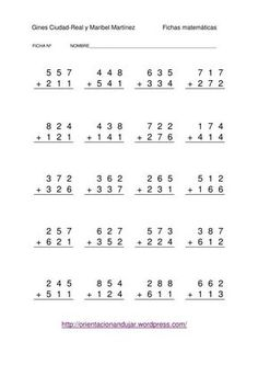 SUMAS DE TRES CIFRAS SIN LLEVADA 4th Grade Math Worksheets, Preschool Worksheets, Math Sheets, Classroom Labels, Second Grade Math, Math Practices, Math Facts, Math For Kids, Math Lessons