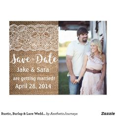 "Rustic, Burlap & Lace Wedding Save the Date Postcard Beautiful rustic wedding save the date with burlap and lace. The lace and brown will print right onto the paper. Perfect for the country, rustic, vintage wedding with just a bit of glamour! Check our shop for more fonts and colors or matching items. Use the template to input your details and photo or the ""customize it"" button to change it up!"