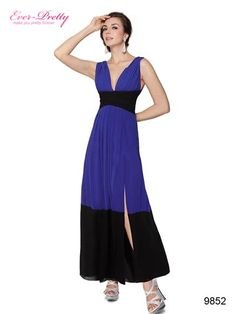 Split Double V-neck Padded Blue Black Long Evening Dress