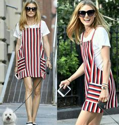 A Olivia Palermo também encanta com uma combinação #streetstyle fashion e criativa, com listras!⭐ Vermelho e branco são cores alegres e #cool. Bem adequadas para passeios com o dog. A sapatilha e o óculos combinam e finalizam o look com estilo. #creative #fashion #style #oliviapalermo