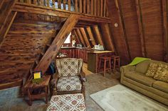 A Frame Interior Frame Cabin Interior One Story Cabin W/ Open Loft - - jpeg A Frame House Plans, A Frame Cabin, Cabin Interiors, Cabin Homes, Small Spaces, Building A House, New Homes, House Styles, Design