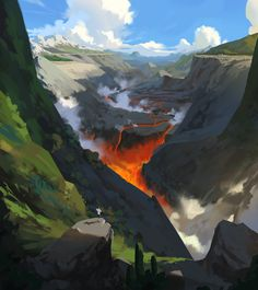 The Art Of Animation, Shin jong hun -. Landscape Concept, Fantasy Landscape, Landscape Art, Environment Concept Art, Environment Design, Nature Sketch, Fantastic Art, Awesome Art, Environmental Art