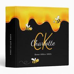 Happy bumble bees sweet honey black school 3 ring binder Bumble Bees, 3 Ring Binders, Binder Design, Custom Binders, Sweets Recipes, Honey, Unique Weddings, Black Gold