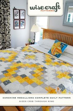 Sunshine Medallions Downloadble Quilt Pattern PDF. $9.95, via Etsy.  Could the white & gray be switched? Maybe not the middle white cross, but the Diamond white?