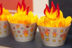 Fire Cupcakes. Great food idea for a firefighter party.