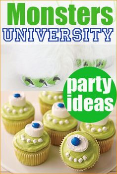 Monsters University Party.  Fun party ideas for a monster party.  Creative party games, crafts and monster cupcakes and food.