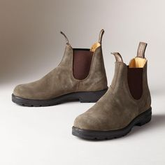 SUPER 550 BLUNDSTONE BOOT -- Down Under, these waterproof pull-on boots from Blundstone are worn everywhere. Anatomically designed to shape to your foot, they feel like your favorite slippers. Cushioned footbed and shock-absorbing dual density polyurethane sole with non-skid tread. Olive with suede uppers