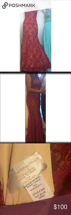 Red formal lace dress Red formal dress size large. Beautiful trumpet cut. Only worn once. Eureka Dresses Prom