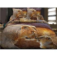 100% Cotton Fashion Lion 3D Animal Print Bedding Sets