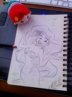 FR-: Dessin rapido d'Ariel, la Petite Sirène de Disney. EN-: Quick sketch of Ariel, Disney's Little Mermaid. www.facebook.com/DavidGilsonDr…