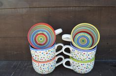 Awesome Dots and Stripes Ceramic Coffee or Soup Mug di InAGlaze
