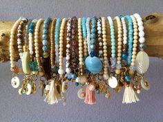 Several beautiful colored glass bead bracelets www.atelierbalila.nl