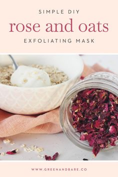 Achieve glowing skin with this simple at home DIY exfoliating rose and oats face mask that's gentle enough for all skin types. Oats Face Mask, Rose Face Mask, Face Masks, Sensitive Acne Prone Skin, Diy Deodorant, Easy Diy, Simple Diy, Acne Cream, Natural Health Tips