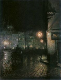 The Old Town in Warsaw at night, 1892, Józef Pankiewicz. Polish (1866 - 1940)