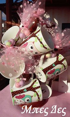 Party Favours, Favors, Baby Dino, Painted Mugs, Christening, Owls, Diy And Crafts, Party Ideas, Weddings