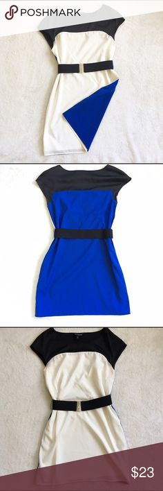 Express contrast black white and blue dress Worn once! Super cute dress with a white/cream front and bright blue back! Comes with wide elastic belt to give a great figure. The black top is silky and shiny. I found a pin sized hole while inspecting it. It's on the back by the shoulder blade. Express Dresses Mini