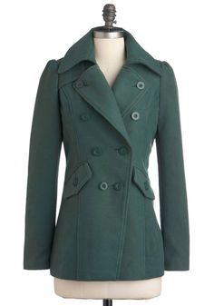 Get a Feel Forest Coat - Mid-length, Green, Solid, Buttons, Pockets, Long Sleeve, 3, Casual, Fall