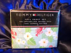 TOMMY HILFIGER CORAL SPRING LOBSTER FULL SHEET SET 100% COMBED COTTON NIP